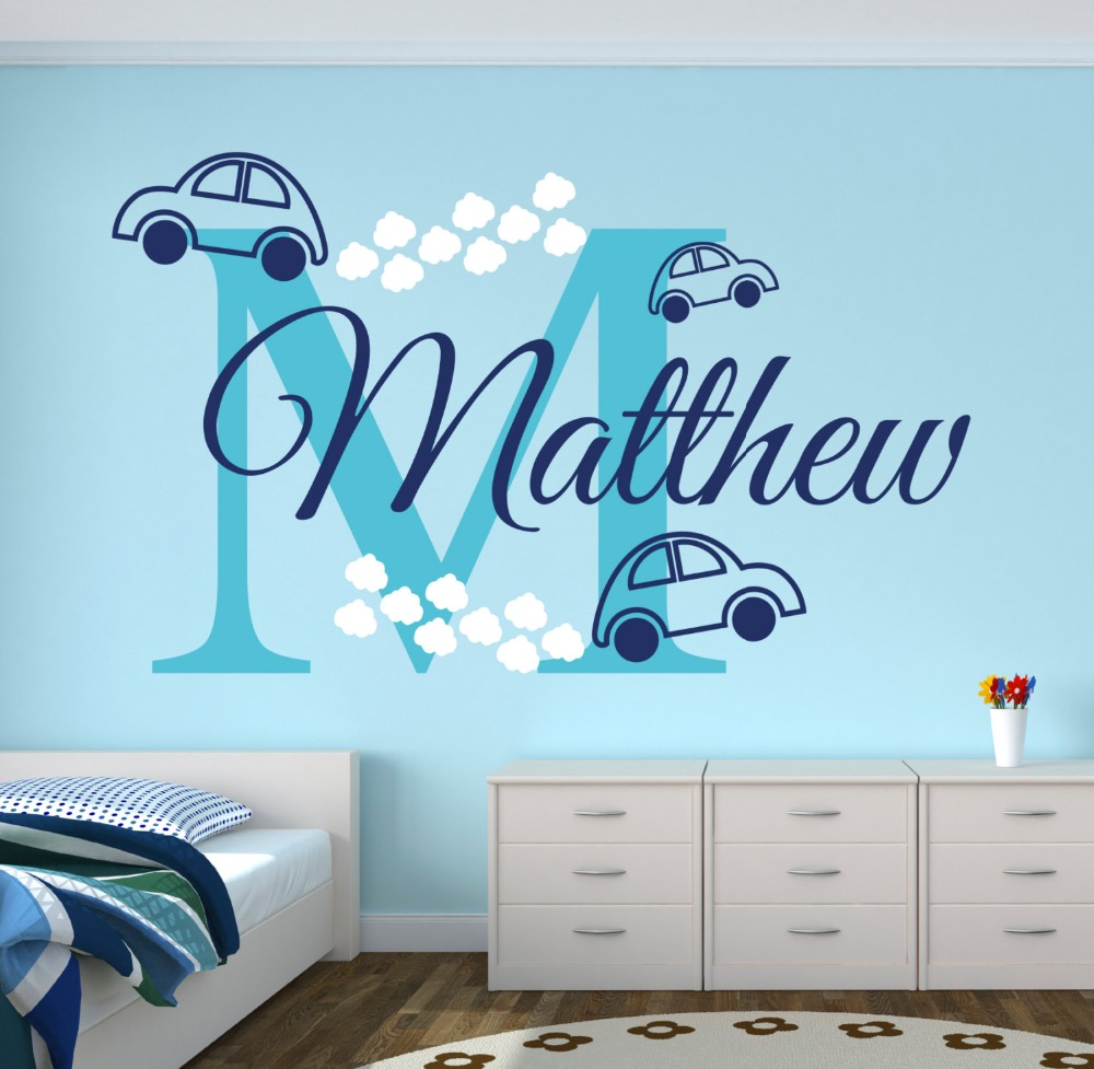 Car sticker design name - Personalized Nursery Name With Toy Cars Initials Sweet Wall Decals Home Children Baby Boys Bedroom Decor