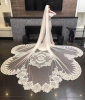 2018 Real Photos White/Ivory 5 M Wedding Bridal Veil Lace Long Veil Cathedral Veil Wedding Accessories Veu De Noiva EE302