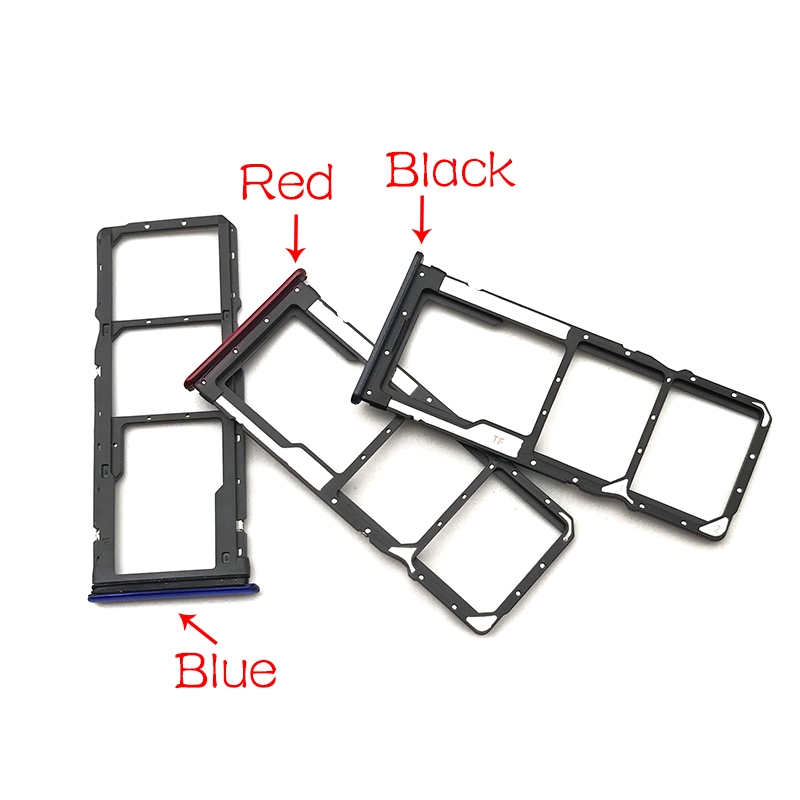 New For Xiaomi Redmi 7 <font><b>SIM</b></font> Card <font><b>Slot</b></font> Tray Holder Adapter Replacement Parts Blue/Black/Red image