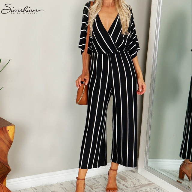 4adde0fc0151 Fashion Women Wide Leg Jumpsuit 2018 Summer Casual Pant V-neck Short Sleeve  Striped Romper Trouser Office Long Playsuit Bodysuit