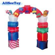 Фестиваль надувные Санта Клаус подарок АРКА 2,4 м/8FT высокое надувные арки для рождества воздуходувки и свет включен