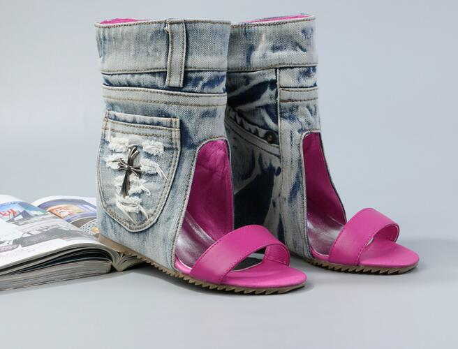 New Fashion Leather Strap Toe Women Ankle Boots Pocket Side Ladies Sexy Denim Boots Increased Wedge Heel Female Dress Shoes luxury good quality new fashion women zipper jumpsuit slim fit skinny jeans rompers pocket denim jumpsuits size sexy girl casual