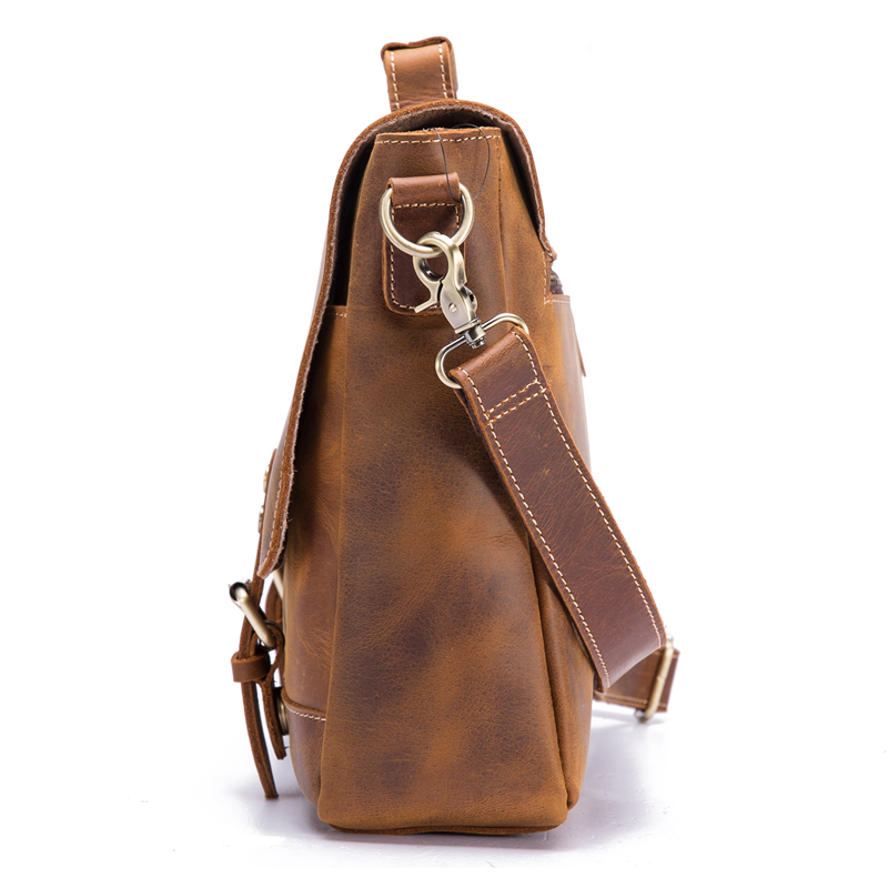Echt Leer Mannen Aktetas Koeienhuid Retro Mannelijke Toevallige Messenger Bag Handtassen Bolsa Zakelijke Schoudertas Cross Body Tas Voor Man - 5