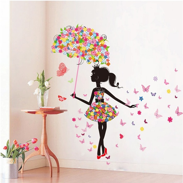 DIY Wall Stickers PVC Large Wall Sticker; Pink Girl Butterfly Bedroom Wall  Stickers Home Decor Part 29