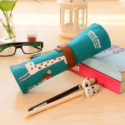 Cute Cartoon Girl's Canvas Roller Pencil Case Large Capacity Stationery Bags for Art Roll Pouch Brush Pen Painting Supplies cute balloon pencil korea creative stationery bags large capacity pencil school work muslin gift girls