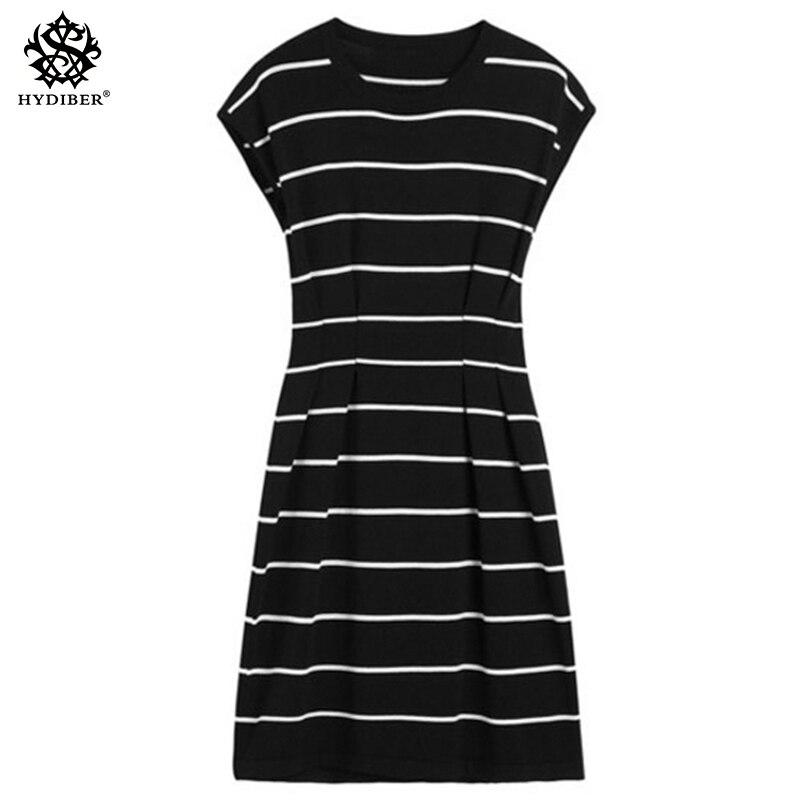 Лето с круглым вырезом и короткими рукавами платье черно-белые полосатые платья Повседневное Элегантный оболочка Тонкий Женщины платье 2018