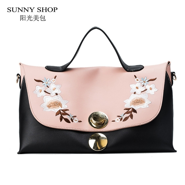 SUNNY SHOP Embroidery Floral Women Leather Handbags 2018 Spring Block Color Shoulder  Bags Fashion Large Boho Messenger Bags Girl 47333a8b3c286