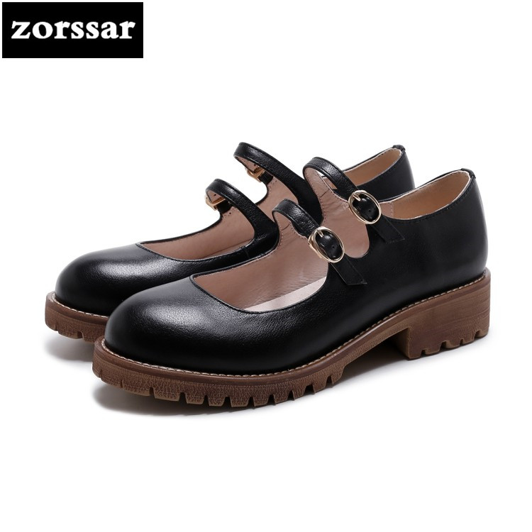 {Zorssar} 2018 Genuine leather fashion Leisure womens shoes Round toe low heel High heels platform pumps women Mary Janes shoes