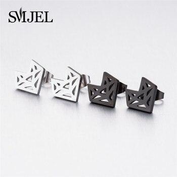 SMJEL Stainless Steel Mickey Stud Earrings for Women Girls Minimalist Fox Cat Hedgehog Earings Jewelry 1