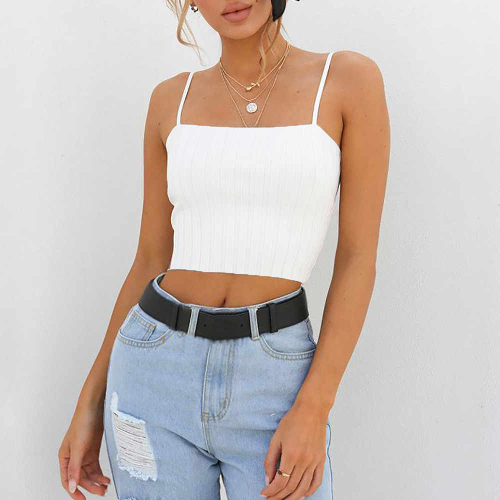 LIM/&Shop Women Tank Top Casual Scoop Neck Crop Top Sleeveless T-Shirt Yoga Sports Vest Sling Slim-Fit Camisole