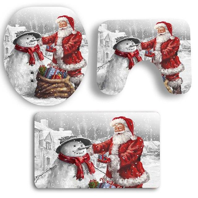 3 Grandezze New Tappetino Da Bagno Babbo Natale E Pupazzo di Neve Bagno Tappeto Bagno Stuoie Set Per Wc Bagno Anti-Scivolamento Tappetino wc