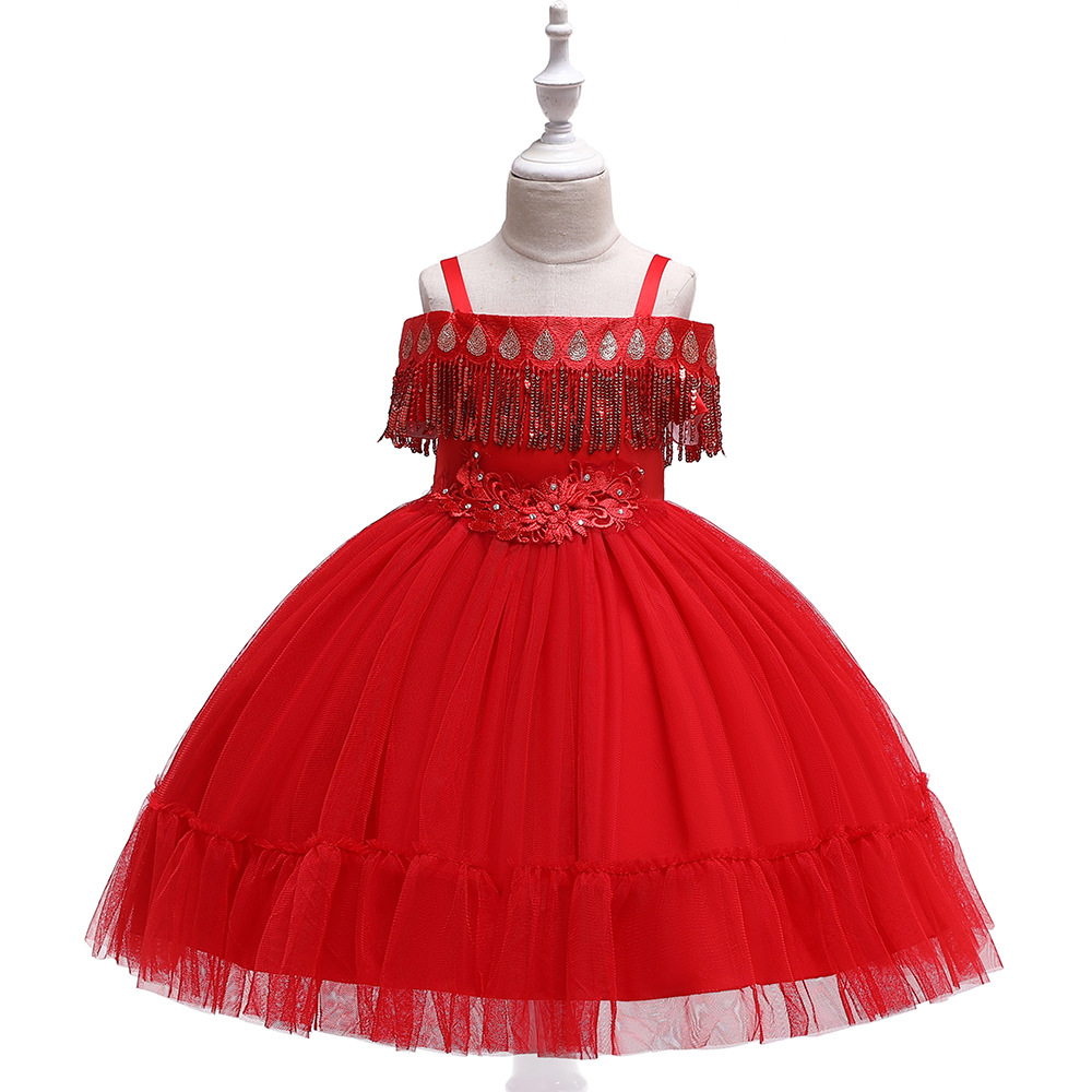 Red Princess   Flower     Girls     Dresses   for Wedding Tulle First Communion Gown Birthday Party   Dress   2019 with Sequins