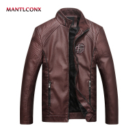 MANTLCONX 2019 Faux Leather Coats Men Zipper Winter Autumn Coat Motorcycle Jacket Black Outerwear Brown Leather PU Jacket Men