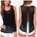 Women's Clothing  Black Tops & Tees Tanks & Camis Fashion Summer Vest Top Sleeveless Casual Hollow Out Lace Tank Tops Plus Size