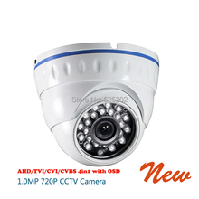 AHD/TVI/CVI/CVBS 4 in 1 720P 1.0MP 24 IR Dome CCTV Camera with OSD