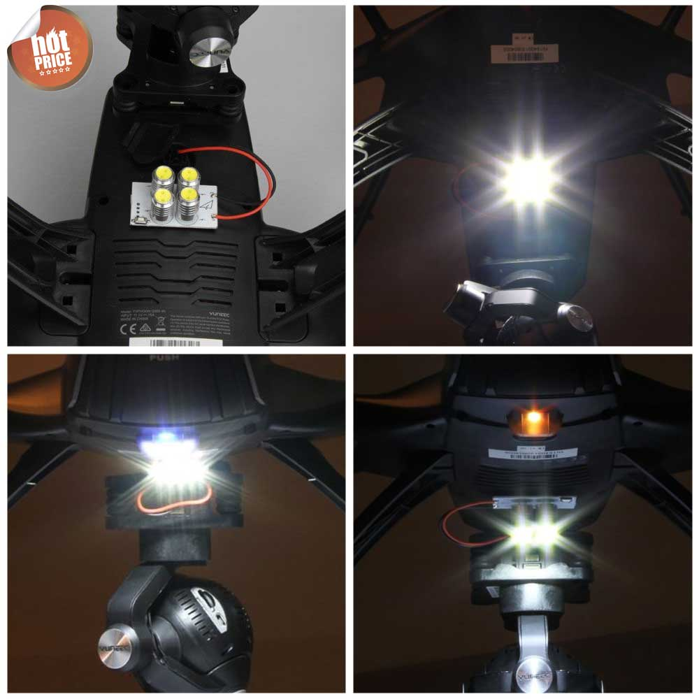 Bright 4 Bulb Spot Head LED Light Lamp For Q500 Quadcopter Night Flying 2pcs lot rc night flying 1 5w 5g super bright led head lights for mini quadcopter multirotor qav250 zmr250