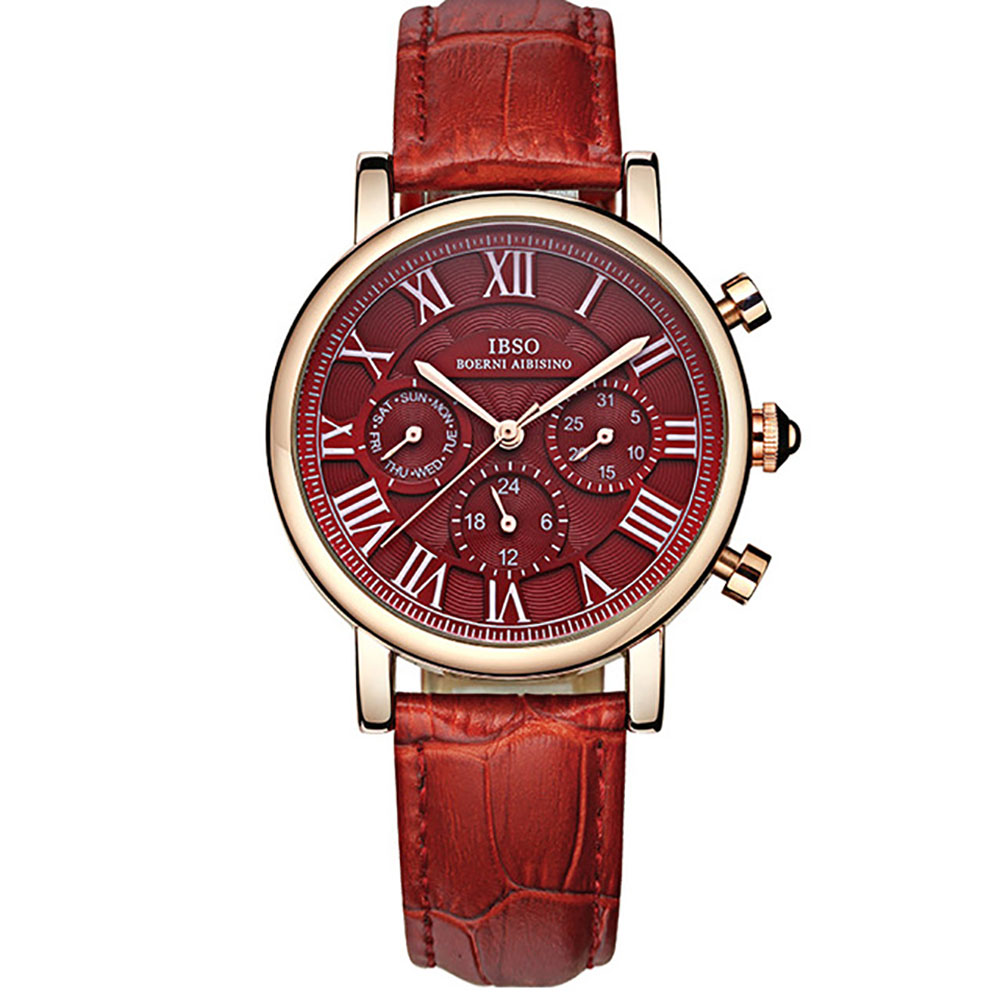 IBSO Luxury Fashion Watches for Women Grand Red Dial Rose Gold Quartz Watches Genuine Leather Strap Montre Femme 6813