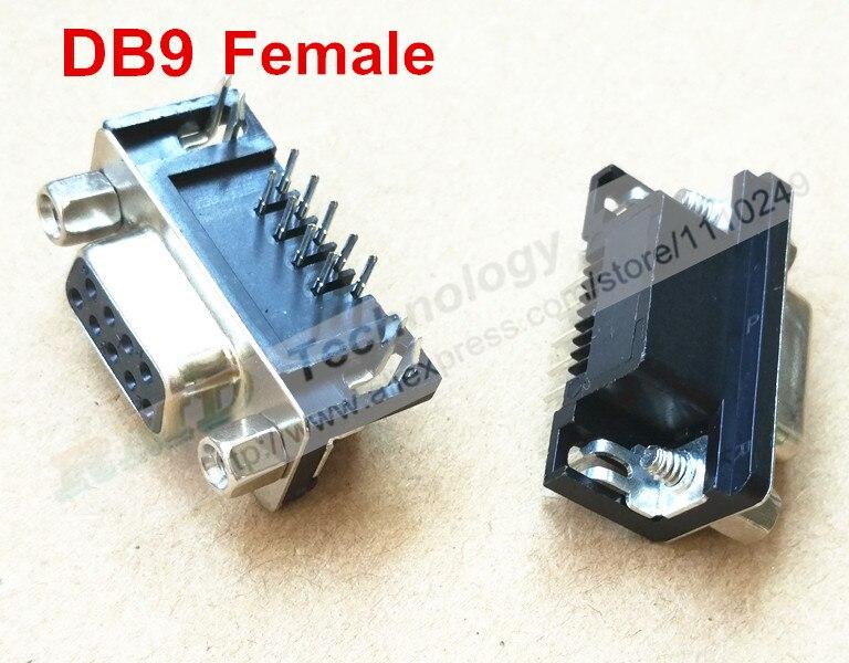 Free shipping DB-9 10 PCS DB9 Male Female PCB Mount, D-Sub 9 pin PCB Connector,RS232 Connector usb charge dock sub pcb s010 sub