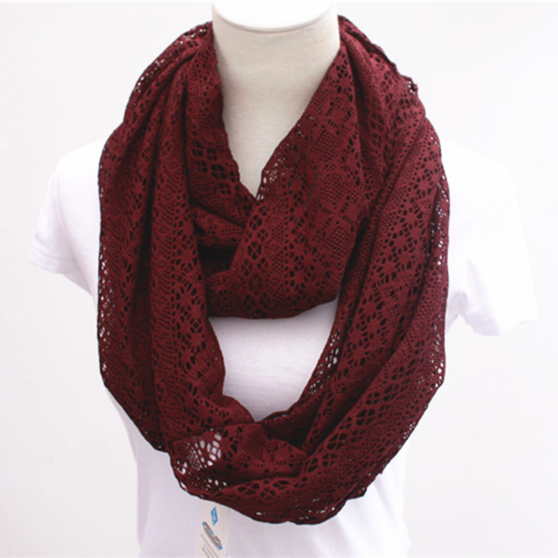 2016 Lace Design Snood Scarf Solid Plain Color Long Ring Knitted