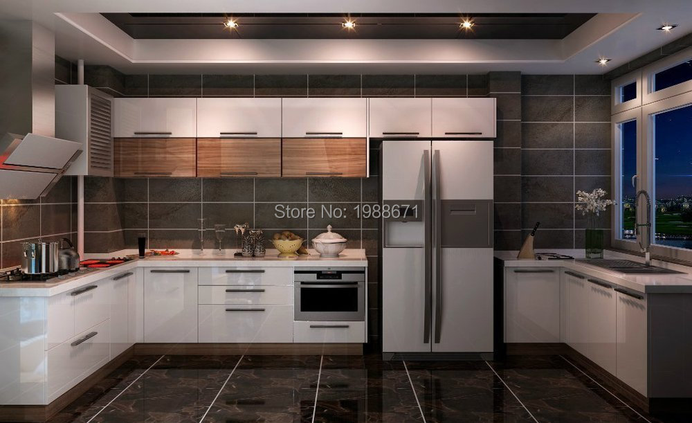 High gloss finish kitchen cabinet white lacquer kitchen for Kitchen cabinets 700mm high