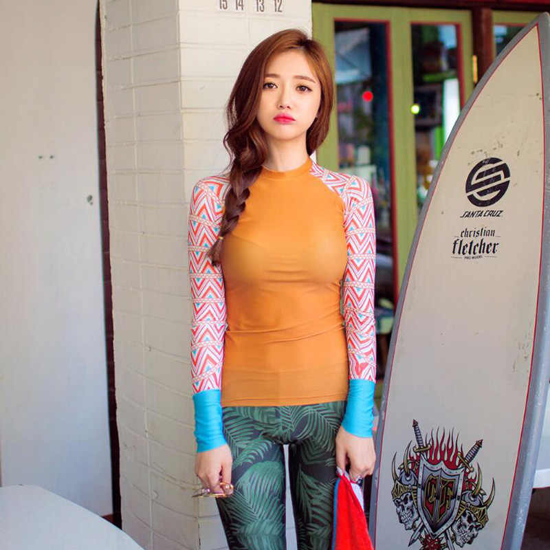 Jersqons 2019 Wanita Panjang Lengan Ruam Penjaga Bunga Surfing Baju Renang Anak Perempuan Pantai Perlindungan Berenang Jas Baju Renang
