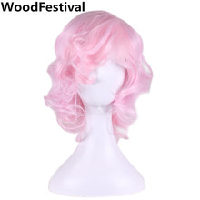 WoodFestival short pink wig cosplay pink anime wig heat resistant short hair synthetic wigs for women part wigs wavy bob  цены онлайн