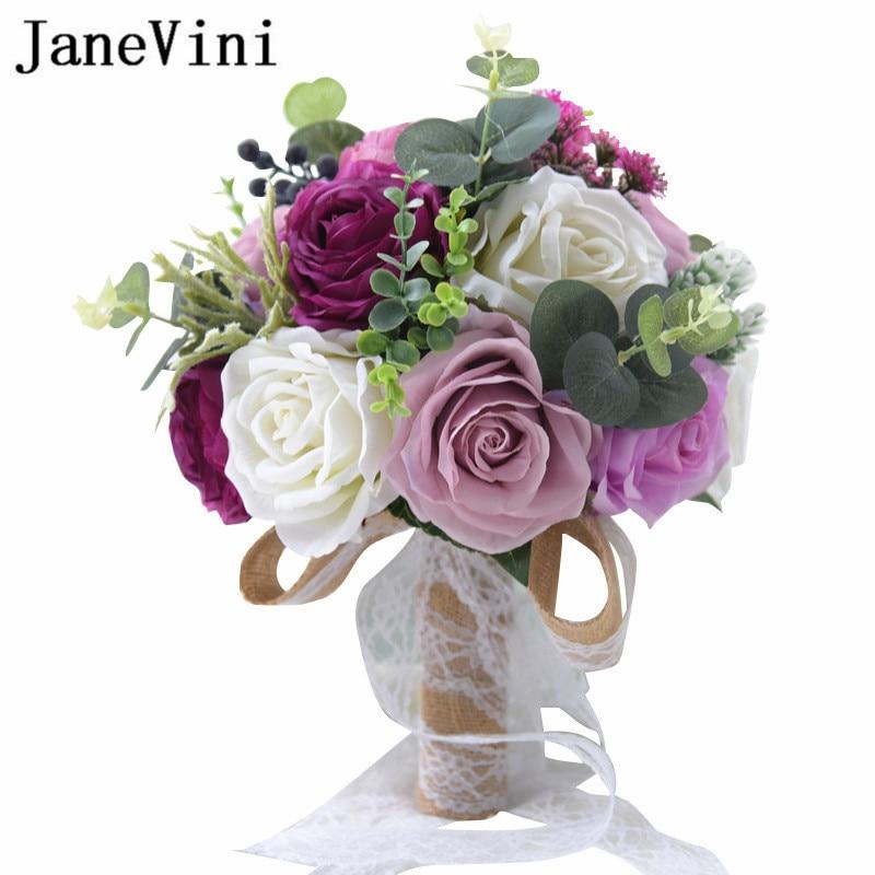 Beach Wedding Flowers: JaneVini Artificial Purple Rose Bouquet Bleu Beach Wedding