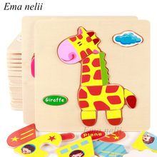 Jigsaw Puzzles Educational-Toys Wooden 3d Learning Animal Kids Gift Baby Children Fruit