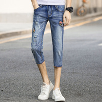 Summer Thin Section Seven Points Jeans Men's Korean Version of Men's 7 Points Pants Teenage Feet Holes Patches Shorts Jeans Men