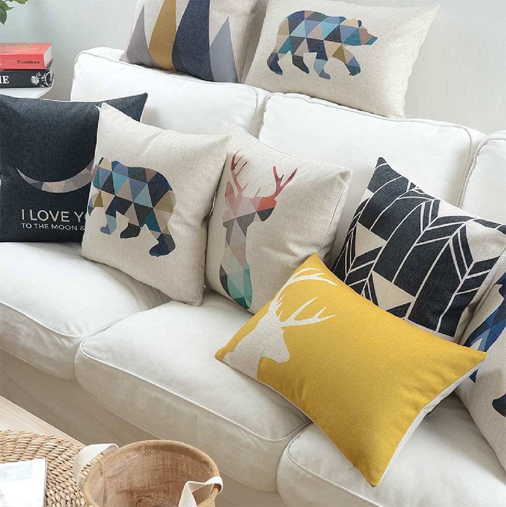 Nordic серый Пледы подушки случай/Лен геометрический Олень Медведь Чехлы для подушек/Капа де almofadas/желтый стул Подушки декор для дома