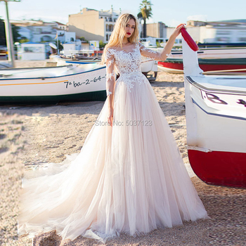 A Line Wedding Dresses Long Sleeves Buttons Back Lace Appliques Court Train Vestido De Noiva Bridal Wedding Gown Custom Made