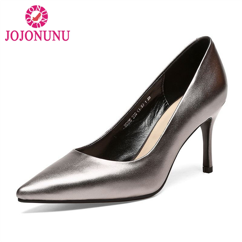 JOJONUNU Sexy Women Real Leather High Heel Shoes Women Pointed Toe Metal Color Thin Heels Pumps Party Club Footwears Size 33-39 big size 40 41 42 women pumps 11 cm thin heels fashion beautiful pointy toe spell color sexy shoes discount sale free shipping