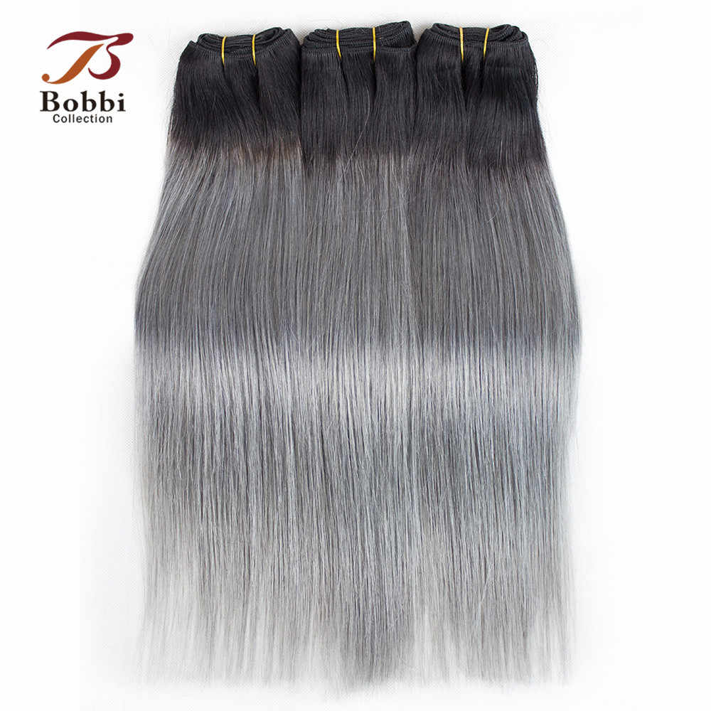 Bobbi Collection T 1B Dark Grey 2/3 Bundels Twee Tone Ombre Braziliaanse Haar Weave Bundels Straight Remy Human Haarverlenging