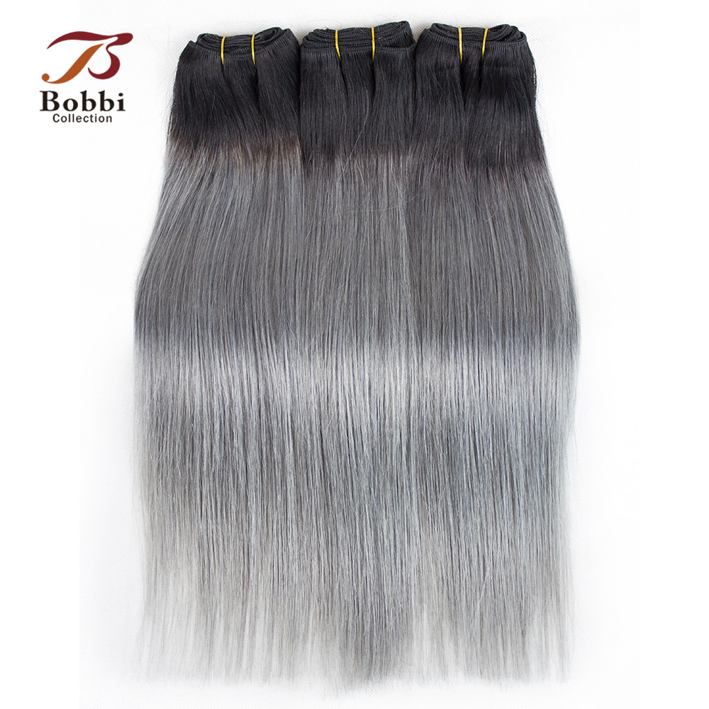 Bobbi Collection T 1B Dark Grey 2/3 Bundles Two Tone Ombre Brazilian Hair Weave Bundles Straight Remy Human Hair Extension-in Hair Weaves from Hair Extensions & Wigs    1