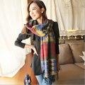 2015New Mujeres amantes de Corea del invierno de la cachemira de la tela escocesa de la bufanda con flecos bufandas calientes del mantón de envío gratis