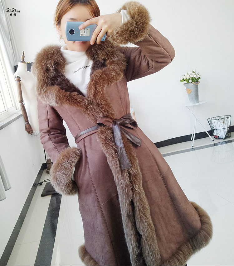 Winter Long Double faced Fur The Coat Women Real Lamb Fur Coat Genuine Sheep Leather Jacket Natural Fox Fur Collar 161011 112