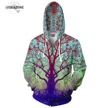 Поездки дерево Zip-Up Hoodie трип 3D принтом модная одежда мужские и женские топы с капюшоном повседневные кофты на молнии наряды Пальто спортивные брюки