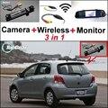 3 in1 Especial Câmera de Visão Traseira Sem Fio + Receptor + Sistema de Estacionamento Monitor espelho Para TOYOTA Yaris Vitz Hatchback MK2 2005 ~ 2013