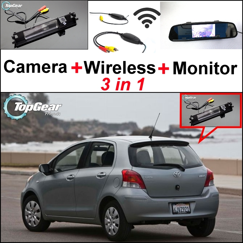 3 in1 Special Rear View Camera + Wireless Receiver + Mirror Monitor Parking System For TOYOTA Yaris Vitz Hatchback MK2 2005~2013 3 in1 special rear view camera wireless receiver mirror monitor back up parking system for honda jazz 5d 2002 2013