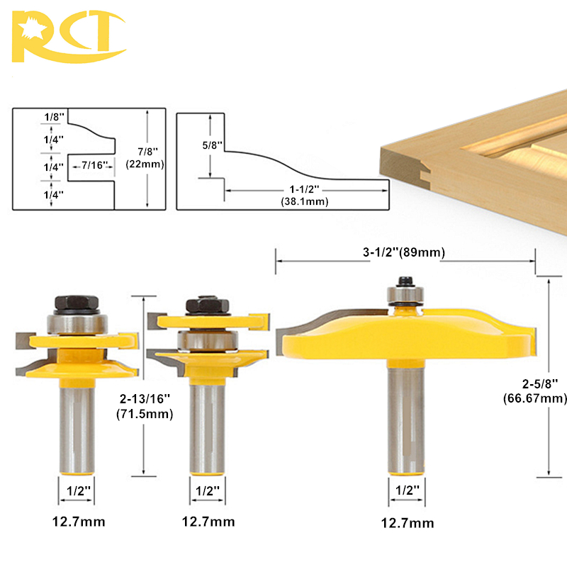 RCT 3pcs 1/2 Shank Rail & Stile Milling Cutters Panel Cabinet Door Router Bit Set For Wood Carbide Cutter Woodworking Tools 1 2 shank router bit milling cutters for doors woodworking tool trimming flooring wood tools