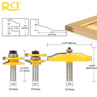 RCT 3pcs 1/2 Shank Rail & Stile Milling Cutters Panel Cabinet Door Router Bit Set For Wood Carbide Cutter Woodworking Tools