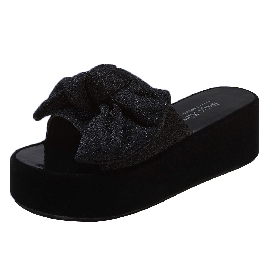 Summer Women's Flat Slippers Fashion Thick-Soled Wedge Sandals Bow Beach Shoes Open Toe Sandals Non-Slip Wedges Slippers Apr 18