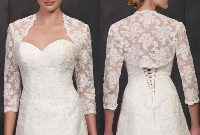 81a5953d1e1 2016 Cheap Lace Bridal shawl Wedding Wraps Short Jacket Net Yarn Long  sleeve bolero ivory Custom