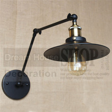 Free shipping High quality wrought balcony aisle lamp Loft Northern american vintage retro country wall lamp long adjustable arm