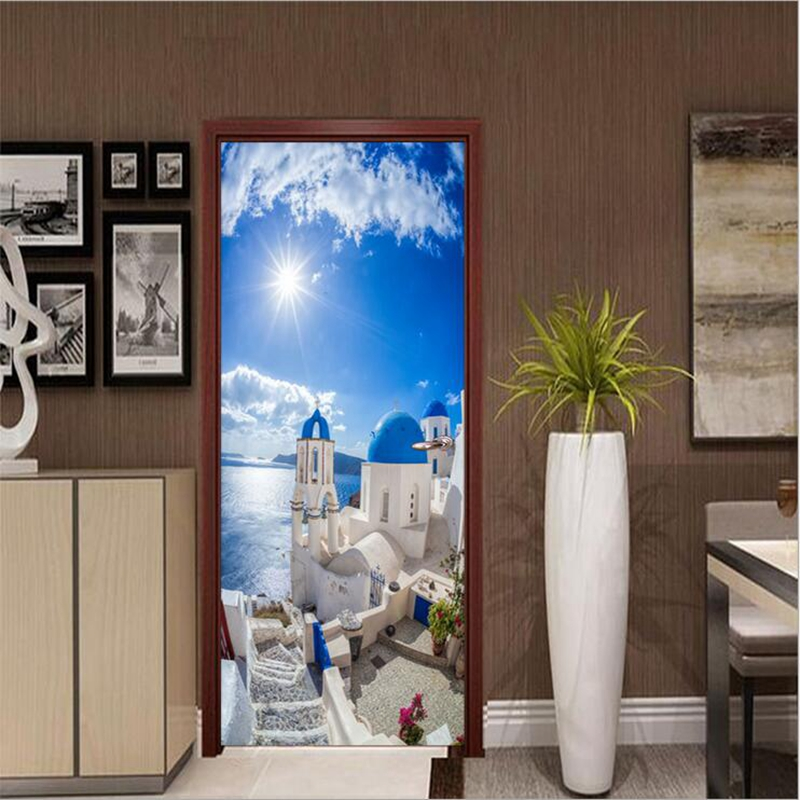 US $28.99 Home Dekorasi Unik Sitting Room Decor Wall Sticker Kreatif  Pemandangan Indah Mediterania Seni Visual Stiker PVC Wallpaper di Wall  Stickers
