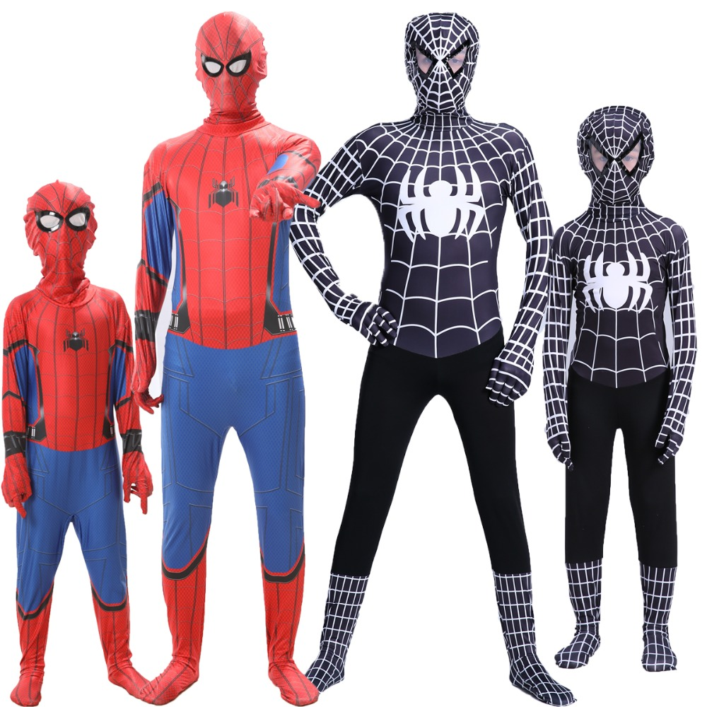 Adult Kids Spiderman Homecoming costume Spandex Zentai Costume Civil War Spiderman Costumes Spiderman Cosplay Custom Movies Suit