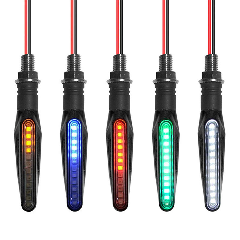 2pcs 12 LED Motorcycle Turn Signal Lights Bendable Flashing Motorbike Indicator Blinker Moto Tail Lights Signal Lamp Accessories