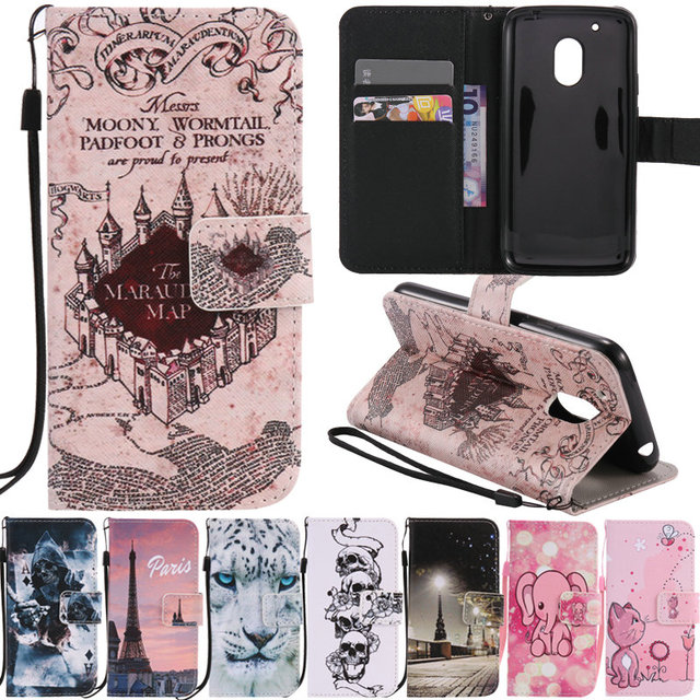 official photos 201e8 407e2 US $3.98 |Cute Cartoon Flip Wallet Case Coque For Motorola Moto G4 Plus G 4  Leather Back Cover Fundas For Motorola Moto G4 Play Case Capa-in Flip ...