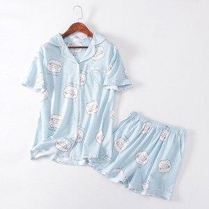 Image 3 - Pembe Bluecute koyun Grafik Tee Ve Şort Pijama Kadınlar turn down Kısa Kollu 2019 Yaz Karikatür Pijama Setleri Gecelikler