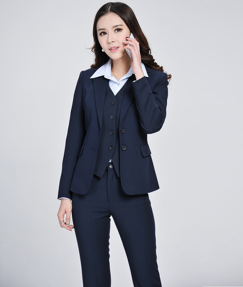 Objective Formal Blue Blazer Women Business Suits With 3 Piece Vest, Pant And Jacket Set Ladies Work Office Uniform Styles Shrink-Proof